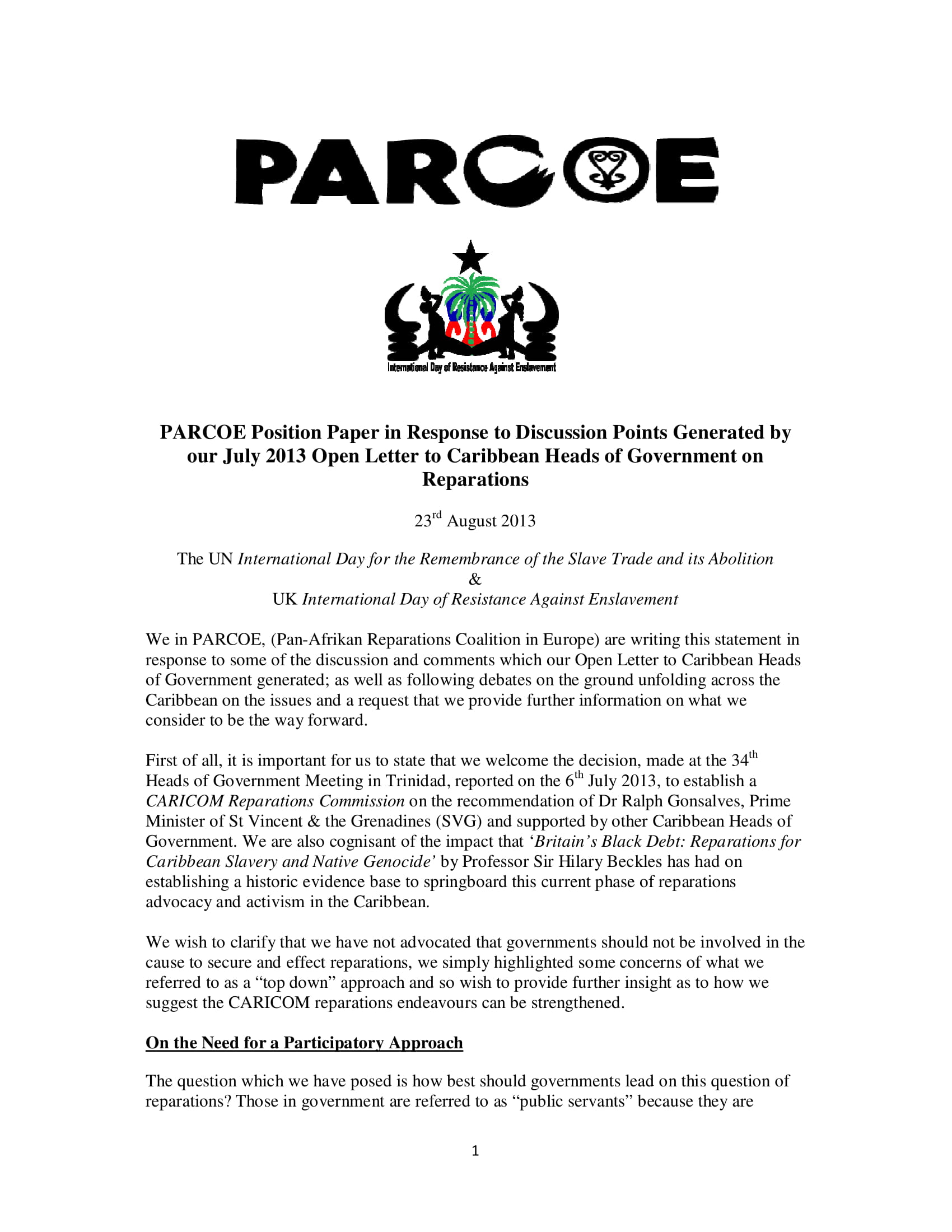 PARCOE CARICOM REPARATIONS POSITION PAPER-01