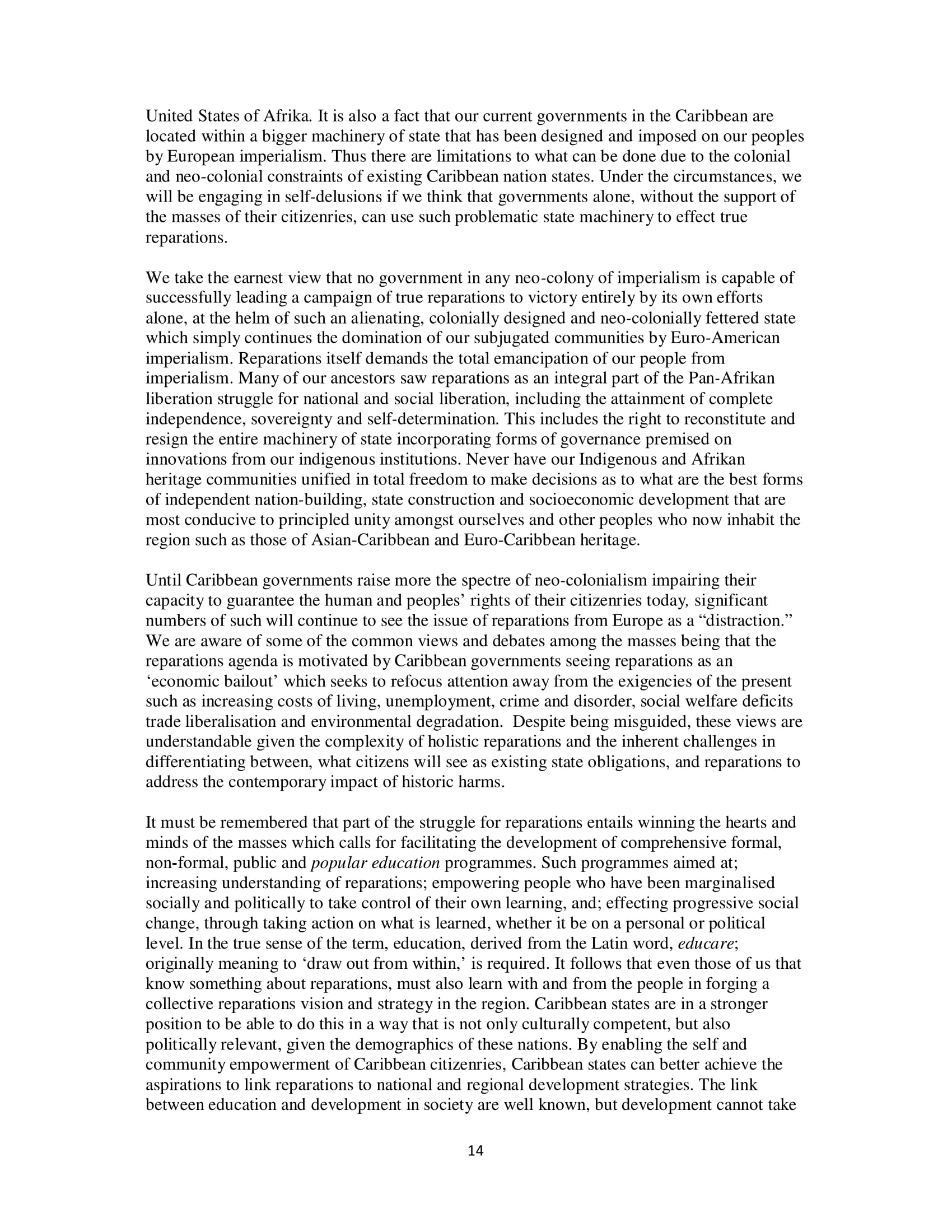 PARCOE CARICOM REPARATIONS POSITION PAPER-14