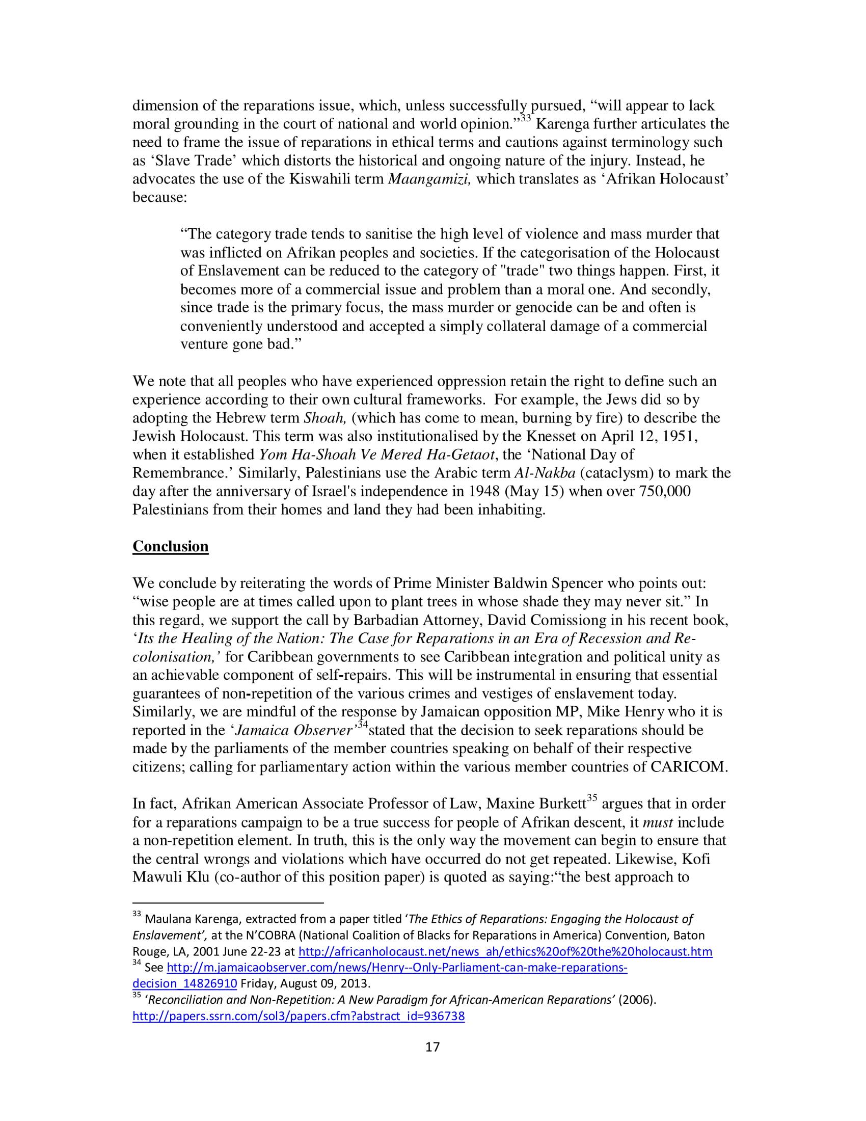 PARCOE CARICOM REPARATIONS POSITION PAPER-17