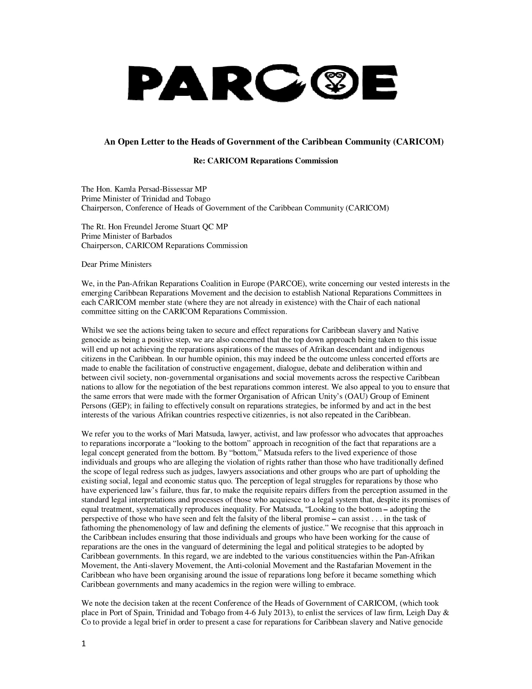 PARCOE Open Letter to CARICOM Heads of Government corrected version-1