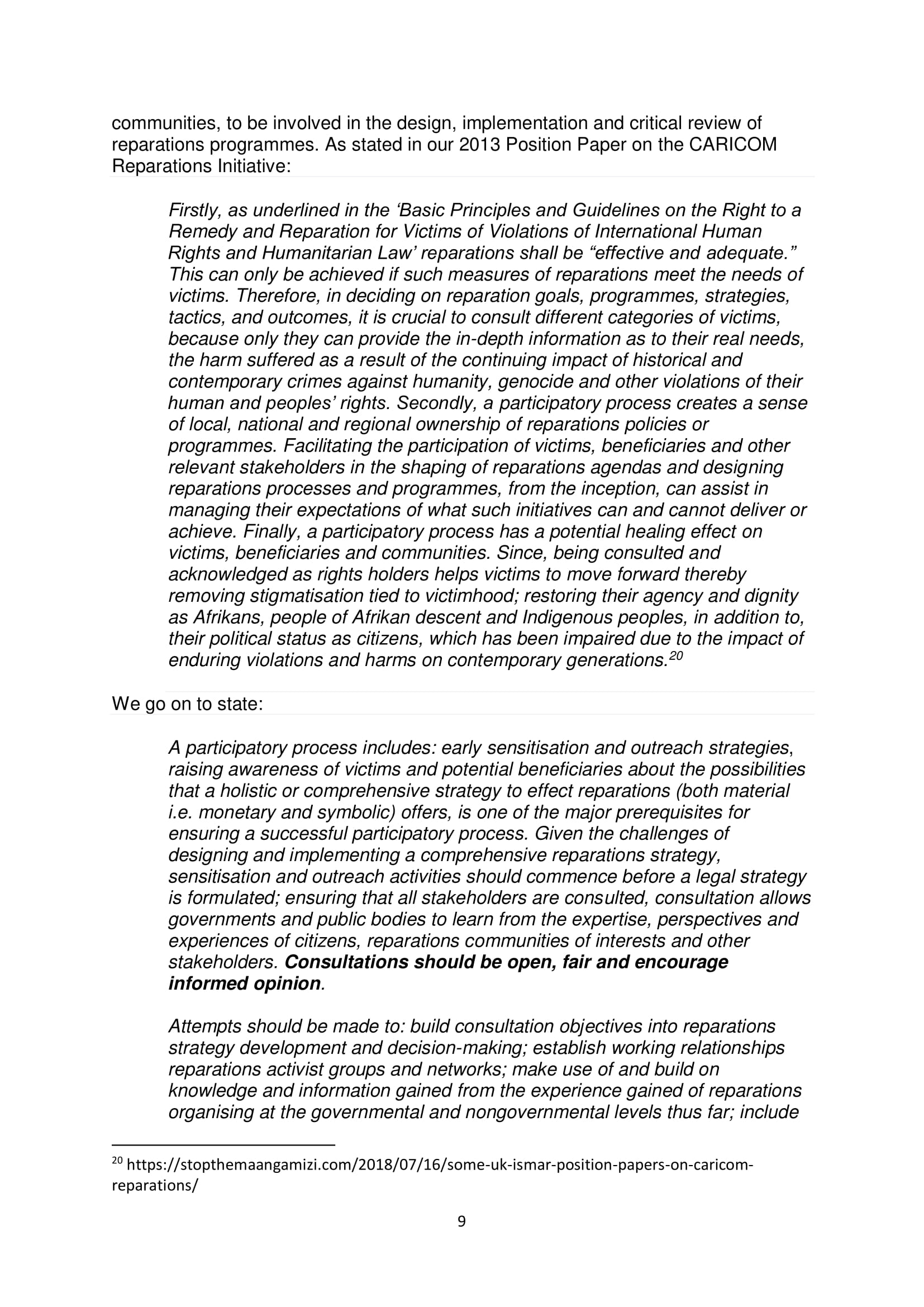 PARCOE POSITION STATEMENT UNIVERSITIES & REPARATIVE JUSTICE DEC 2018-09