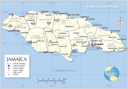 jamaica-administrative-map